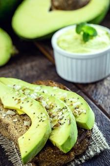 Healthy avocado toast with rye bread