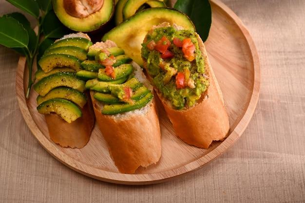 Healthy avocado toasts for breakfast.