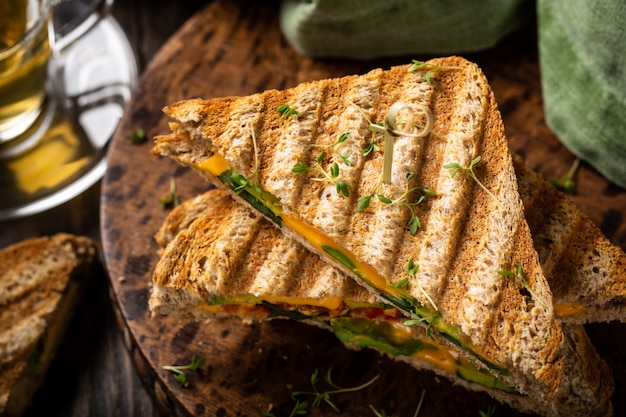 Healthy avocado toasts for lunch