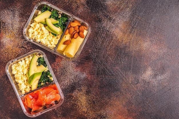 건강한 균형 잡힌 도시락, 케토 제닉 다이어트 점심