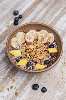 Healthy banana dessert with oat and yogurt