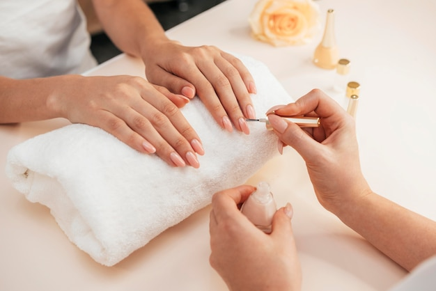 Healthy beautiful manicure and manicurist