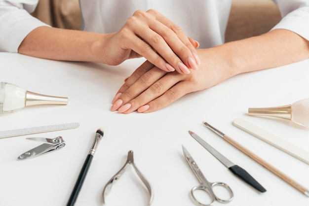 Healthy beautiful manicure and tools
