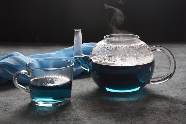 Healthy blue butterfly pea tea from flowers