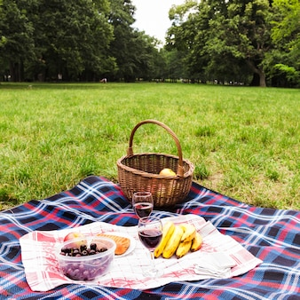 Healthy breakfast and wine glasses on blanket over the green grass