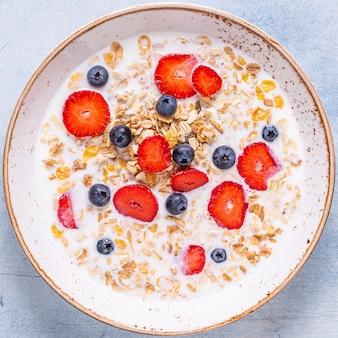 Здоровый завтрак, миска с овсяной мюсли, молоком и ягодами, вид сверху.