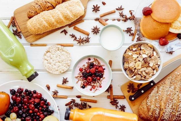 Healthy breakfast concept with yogurt