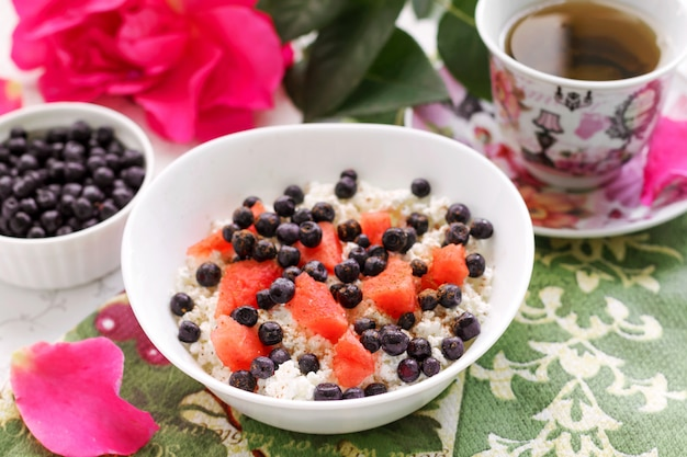 Healthy breakfast cottage cheese with fresh berries and tea