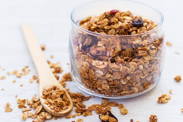 Healthy breakfast. freshly granola in glass
