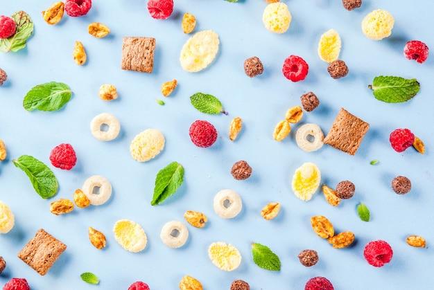 健康的な朝食の食材のコンセプト。さまざまな朝食用シリアル、ラズベリー、ミントに青色の背景、コピースペース平面図