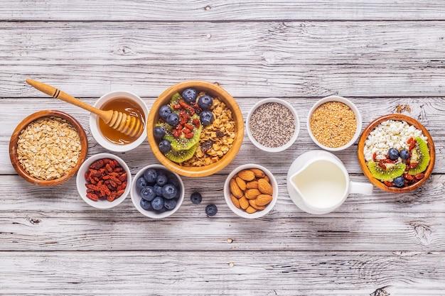 Healthy breakfast ingredients, top view, copy space.