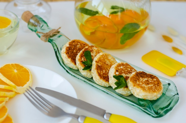 Healthy breakfast made of pancakes from cottage cheese