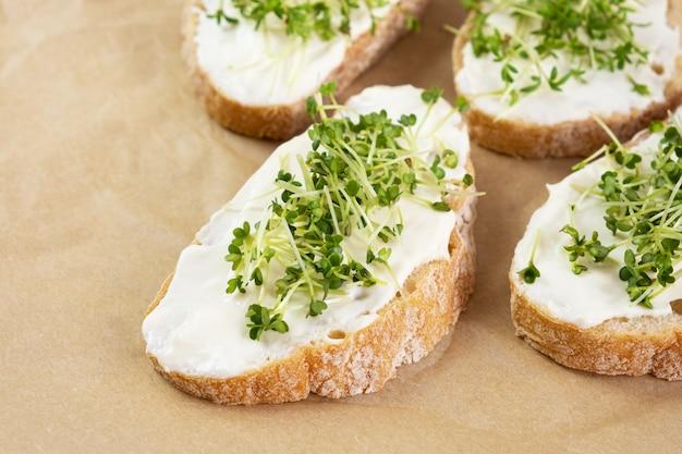 건강한 아침 식사. 크림 치즈와 마이크로 그린 샌드위치.
