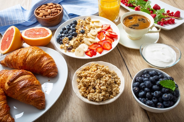 Healthy breakfast served with plate of yogurt muesli blueberries strawberries and banana.