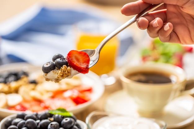 Healthy breakfast on spoon muesli blueberry yogurt and strawberry on fork.