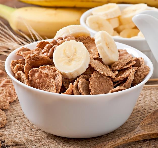 Healthy breakfast - whole grain muesli in a white bowl