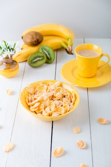 Healthy breakfast with cereal flakes