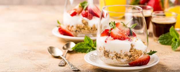Healthy breakfast with granola and berries