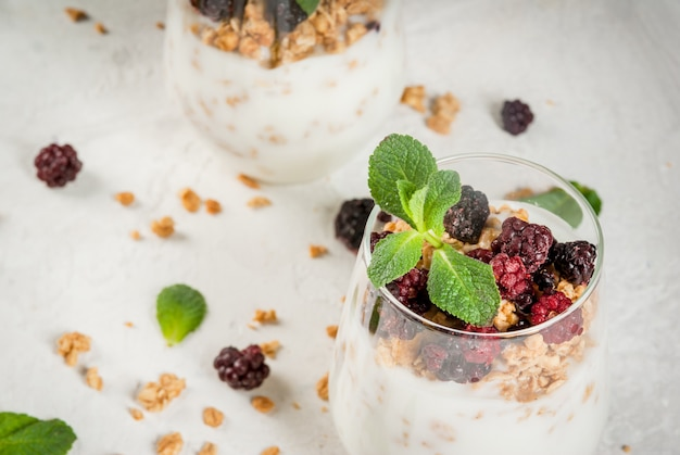 Healthy breakfast with granola and berry