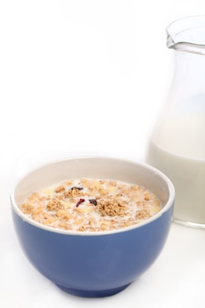 Healthy breakfast with milk and cereal