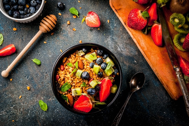 Healthy breakfast with muesli or granola with nuts and fresh berries and fruits