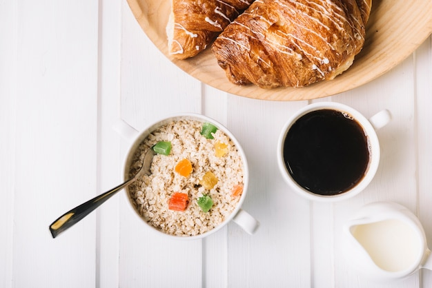 Healthy breakfast with oats and coffee