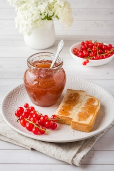 Healthy breakfast with toast, jam and red currants