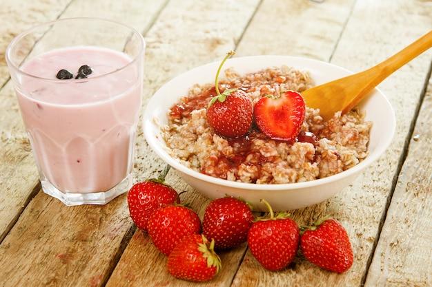Healthy breakfast on wooden table
