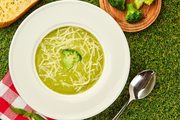 Healthy broccoli cream soup in bowl on green grass