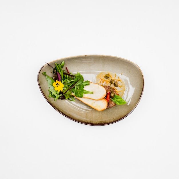 Healthy bruschetta dish in flat lay