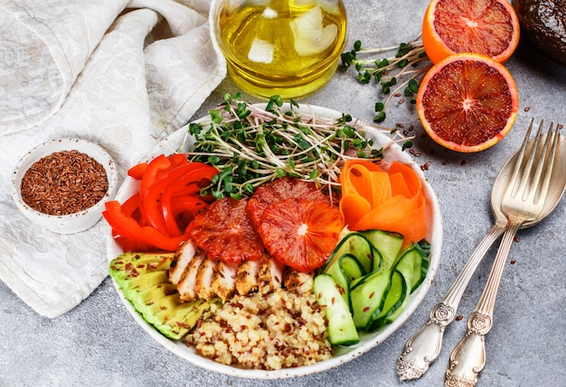 Healthy buddha bowl with grilled chicken