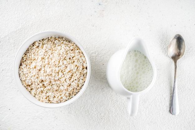 Healthy cereal and milk breakfast
