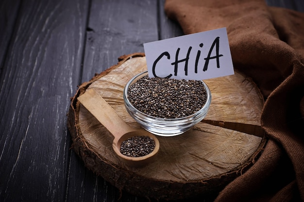 Healthy chia seeds in bowl
