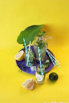 明るい背景に柑橘系タラゴンキュウリとミントの葉の健康的な冷たい飲み物