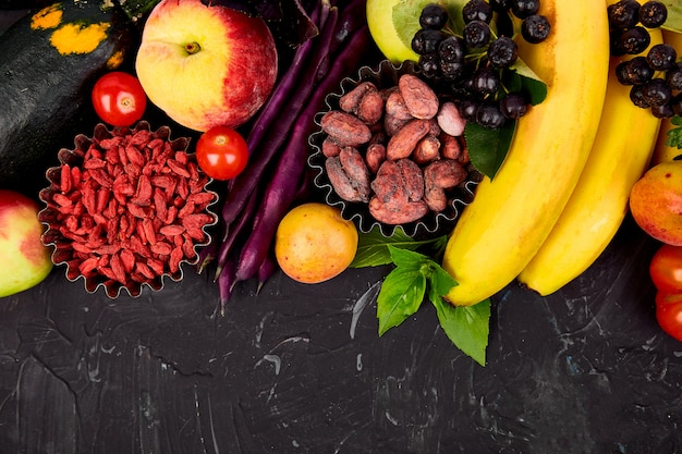 Healthy colorful food selection