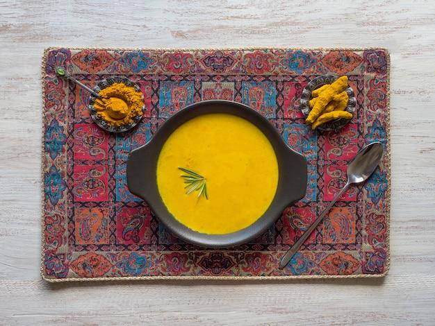 Healthy curcuma cream soup
