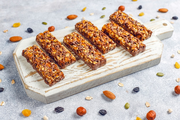 Healthy delicios granola bars with chocolate,muesli bars with nuts and dry fruits,top view