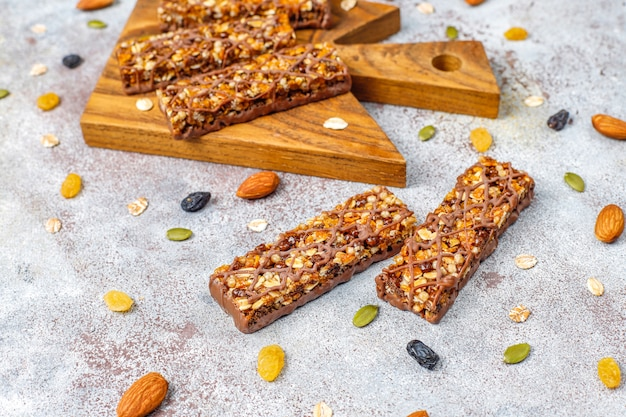 Healthy delicios granola bars with chocolate,muesli bars with nuts and dry fruits