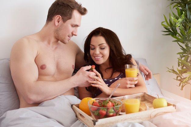 Healthy and delicious breakfast in bed
