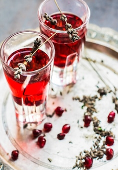 Healthy drink with fresh pomegranate