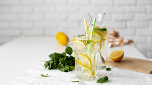 Healthy drink with lemon slices