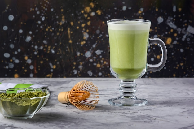 Healthy drink with owl milk. matcha green tea latte. vegetarian product