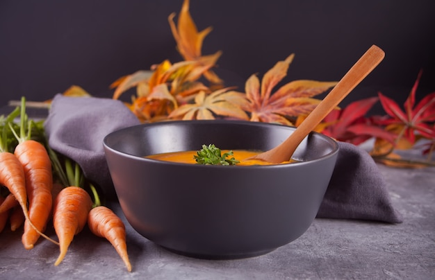 Healthy eating carrot cream soup.