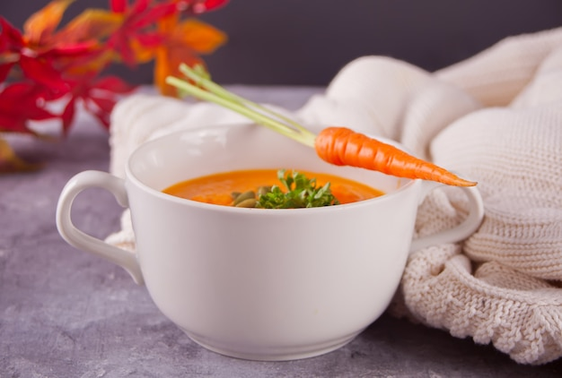 Healthy eating carrot cream soup