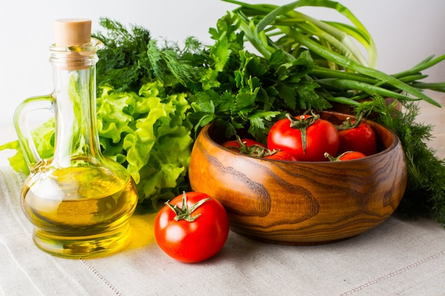 Healthy eating concept with summer vegetables and olive oil
