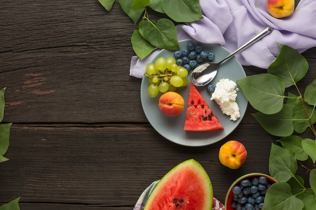Healthy eating fresh fruit, berries  and cottage cheese dessert