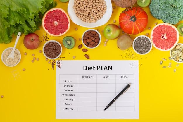 健康的な食事プラン。新鮮な有機野菜、果物、種子のトップビューのダイエットスケジュール。フラットレイ