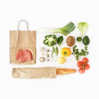 Healthy eating  top view full paper bag healthy food