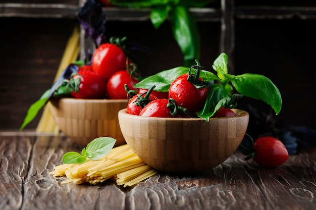 Healthy eating with tomato, pasta and basil
