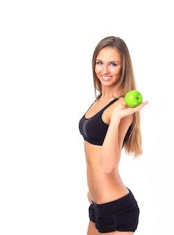 체중 감량을 시도하는 건강한 식생활 여자-흰색 배경 위에 절연